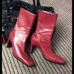 """Nine West Boots Beautiful Red Nine West Boots. Zipper in back. 3"""" heels. Soft and great condition. See last pic for only scratch on heel. Nine West Shoes Heeled Boots"""