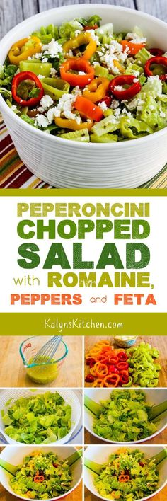 Chopped Salad with Romaine, Red Bell Pepper, and Feta is a family-favorite salad that I've been making for years for parties! This low-carb, Keto, and low-glycemic salad will disappear quickly any time you take it to a party! Salad Recipes For Dinner, Salad Dressing Recipes, Dinner Salads, Salad Bar, Soup And Salad, Low Glycemic Diet, Feta Salat, Healthy Eating, Clean Eating