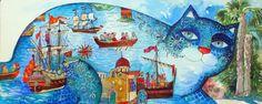 Chat méditerranéen - Peinture,  50x20 cm ©2013 par Oxana Zaika -                            Fauvisme, chat