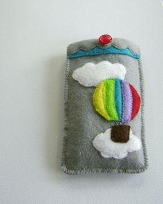 Phone Glasses Case Felt Pouch Hot Air Balloon Rainbow mp3 Player Protective Carry Pocket Cosy. $22.00, via Etsy.
