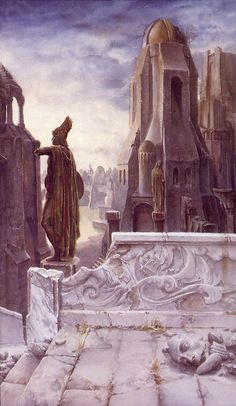 Alan Lee - Osgiliath. The old capital city of Gondor. The city straddled the Anduin River at a point approximately half way between the cities of Minas Anor to the southwest and Minas Ithil to the northeast.  In the Great Hall of the city the thrones of the sons of Elendil were set side by side. In its days of glory, the city featured quays, a great stone bridge supporting houses and towers of stone, and the Dome of Stars, which housed the Osgiliath-stone, the greatest of the seven.
