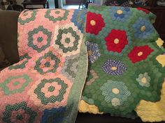 """Vintage hexagons owned by Jacque Wright who says """"Some of the vintage quilts made by my great grandmother back in the 1920s to early 1950s. Maybe even earlier."""""""