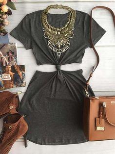 Vestido Patchwork Vestido de verão sólida moda Mini Vestido plissado de manga curta Regualt Natural O pescoço Mini roupa das mulheres