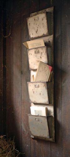 Vintage Metal Wall Pocket File Folder Organizer Antique