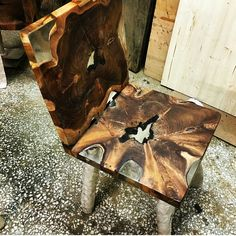 Teak epoxy chair by Lara wood design