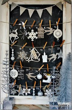 Advent Calendar {a lot going on here... but like the chalk-board background with days}