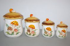 Vintage Retro Sears Roebuck Merry Mushroom Canister by JunquePro