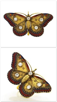 Circa 1890s, 14k, American. This extraordinary antique diamond and enamel butterfly brooch is a superlative example of American Art Nouveau jewelry. Glowing enamel and bright white diamonds adorn the textured gold wings of this naturalistic pin. | 1stdibs