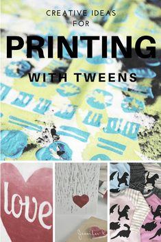 Creative ideas for experimenting with printing. Perfect for being creative with your tween this summer holiday. Nature Crafts, Home Crafts, Crafts For Kids, Diy Crafts, Summer Holiday Activities, Summer Crafts, Holiday Ideas, Sewing Projects, Craft Projects