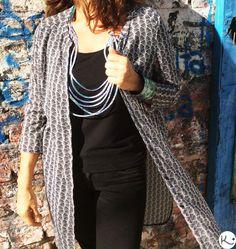 Kimono Top, Women, Fashion, Blue Bracelets, Blue Nails, Necklaces, Jewelry Making, Fashion Accessories, Ribbons