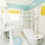 bathrooms - turquoise blue walls vintage clawfoot tub subway tiles backsplash white pedestal sink penny tiles yellow roman shade white recessed medicine cabinet mirror retro shower curtain yellow towels Just love the colors on this one