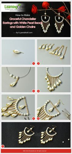 How to Make Graceful Chandelier Earrings with White Pearl Beads and Golden Chains from LC.Pandahall.com
