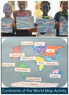 Perfect world map activity for kids to learn the continents and oceans. Easy and concrete geography lesson for kids to help practice map skills. Teachers and kids both love this hands-on geography. Continents Activities, Geography Activities, Ocean Activities, Geography Lessons, Teaching Geography, Social Studies Activities, Teaching Social Studies, Teaching History, Geography Quotes