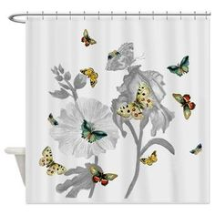 Artfully Feathered ETSY Butterfly Shower Curtain   Botanical On Gray    Girls Bathroom Decor, Butterflies