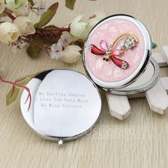 Personalized Favors - $9.49 - Personalized Dragonfly Design Chrome Compact Mirror With Diamond Rhinestone (118031897) http://jjshouse.com/Personalized-Dragonfly-Design-Chrome-Compact-Mirror-With-Diamond-Rhinestone-118031897-g31897