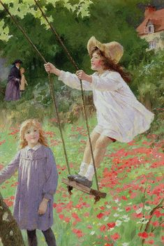 The Swing Painting by Percy Tarrant - The Swing Fine Art Prints and Posters for Sale