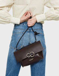 Modern shoulder bag from KOZHA NUMBERS in Burgundy. Debossed gold logo detailing at front. Calf Leather, Leather Bag, Stitch Fix Outfits, Gold Logo, Calves, Shoulder Strap, Burgundy, Bags, Accessories