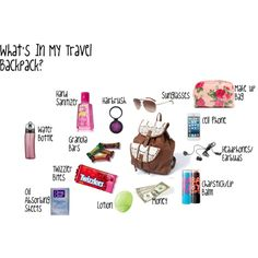 """""""What's In My Travel Backpack?"""" by rileycarp on Polyvore"""