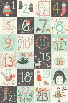 Christmas advent calendar numbers printable and lots of lovely free drawings in… Noel Christmas, Vintage Christmas, Winter Christmas, Xmas, Christmas Countdown Calendar, Diy Advent Calendar, Calendar Ideas, Calendar Printable, Free Calendar