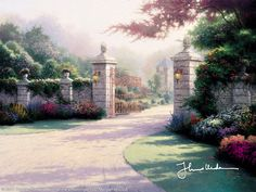 Summer Gate by Thomas Kinkade ---Every gate, to paraphrase a favorite song, has its season. The season for this dramatic portal, with its monumental pillars and ornate ironwork, its lavish blossoms and delicate palette of floral colors, clearly is summer. Summer Gate introduces my third print series to embrace the promise of a season by exploring the enticing world that lies beyond a secluded gate.  — Thomas Kinkade