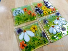 Wild Flowers Fused Glass Coaster - Set of 4 by ArtDeptStudios on Etsy https://www.etsy.com/listing/469522582/wild-flowers-fused-glass-coaster-set-of