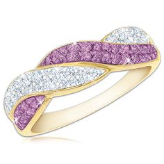 This exquisite 14ct gold-plated ring boasts 37 sparkling Swarovski birthstones and ten dazzling diamonds, elegantly set on gracefully entwined bands. As the perfect finishing touch, your name is custom engraved inside the band.