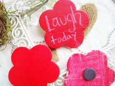 Barn Red Chalkboard Flower Magnet Reusable by PinAndTack on Etsy #magnet #kitchen #decor