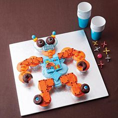 Rad robot, indeed!  From Disney Family Fun: http://familyfun.go.com/recipes/rad-robot-cupcakes-984990/  #robots #cupcakes #dessert
