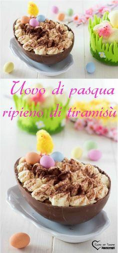 Uovo di Pasqua ripieno di tiramisù #cucina #ricette #pasqua #cioccolato #tiramisù Biscotti, Menu, Food And Drink, Pudding, Cooking, Breakfast, Desserts, Cheesecake, Gif