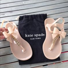 """Kate Spade flise jelly bow thong sandal, dusty PRICE IS FIRM (sorry:()Almost new condition-Kate Spade-sold out in stores and online  flise jelly bow thong sandal, dusty mauve kate spade new york PVC thong sandal. 1/2"""" flat rubber heel. Golden chain and bow detail. Adjustable ankle strap. Textured sole for traction. """"flise"""" is imported. kate spade Shoes Sandals"""