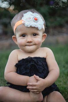 White Baby Headband Orange Baby Headband by LittleMissBlingNYC