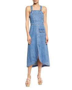 See by Chloe Denim Overall Midi Dress, Washed Indigo