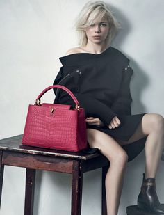 Michelle Williams by Peter Lindbergh for Louis Vuitton's Capucines bag 2015