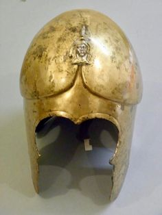 "Hoplite helmet, c. 4th century BCE. Thus the term ""dick head"" to describe your enemies."