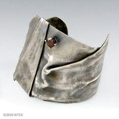 Fold Formed Silver Cuff with Garnet 1