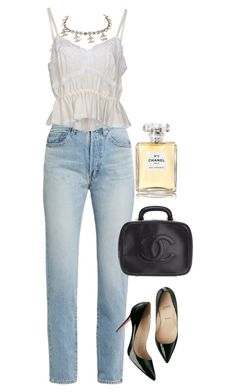 """chanel"" by prepworld ❤ liked on Polyvore featuring Yves Saint Laurent, Dolce&Gabbana, Chanel and Christian Louboutin"