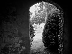 View from inside the Parson's Bell Tower, Indian Mound Cemetery, West Virginia.