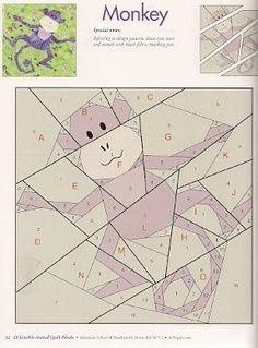 Monkey paper piecing quilt patterns animals | Lots of Paper Piecing Patterns for Animals