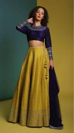 Olive Green and Blue Taffeta Silk Full Sleeve Choli Lehenga Half Saree Designs, Choli Designs, Lehenga Designs, Saree Blouse Designs, Dress Indian Style, Indian Fashion Dresses, Indian Designer Outfits, Indian Gowns, Stylish Blouse Design