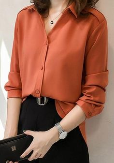 Orange Single Breasted Turndown Collar Elegant Office Worker/Daily Blouse - Business Outfits for Work Office Outfits Women, Casual Work Outfits, Winter Outfits For Work, Business Casual Outfits, Professional Outfits, Winter Fashion Outfits, Work Fashion, Outfit Office, Outfit Work