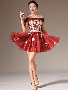 Off the Shoulder Appliqued Organza A Line Party Dress'