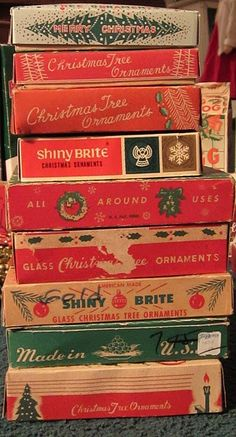 Vintage Ornament Boxes they always smelled musty.Now I miss that smell as it reminds me of Christmas past. Christmas Past, All Things Christmas, Winter Christmas, Christmas Crafts, Magical Christmas, 1980s Christmas, Christmas Mantles, Victorian Christmas, Father Christmas