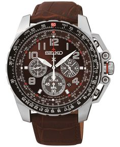 Seiko Men's Chronograph Solar Brown Leather Strap Watch 44mm SSC279