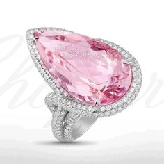 A beautiful pear-shaped morganite ring from the High Jewellery Red Carpet Collection.