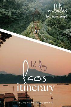 This Laos itinerary shows you all the Laos highlights: Luang Prabang Vang Vieng Vientiane the Bolaven Plateau and the 4000 isles. This Laos travel guide shows you how to visit Laos in 12 days. Laos Travel, Asia Travel, Solo Travel, Japan Travel, Travel Plane, Travel Icon, Thailand Travel, Luang Prabang, Vientiane
