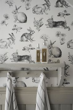 Bunny wallpaper and mushroom wainscoting! Decor, Ivy House, Interior, Home Decor Decals, Vintage Style Wallpaper, Wallpaper, Mural Wallpaper, Home Decor, Bold Wallpaper