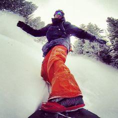 Powder surfing Bear River Range, Utah. No bindings = lots of fun  #snowboarding #powsurf