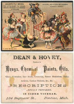Drug Store Victorian Trade Card  Pegleg Fiddler Allan Fly Brick & Pontiac, Mich.