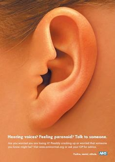 "The interactive version of this NHS poster campaign uses audio and visuals to show the voice ""whispering"" into the woman's ear. Via Canva."