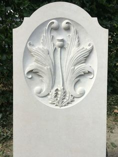 Sunken relief carving of acanthus and thistle on back of beautiful bespoke gravestone Unusual Headstones, Cemetery Headstones, Headstones For Graves, Tombstone Designs, Cemetery Monuments, List Of Flowers, Flower Symbol, Queen Of Heaven, Flower Meanings